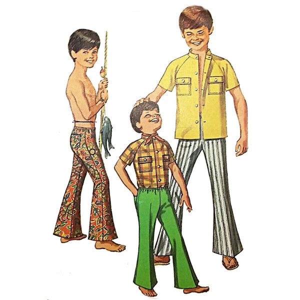 Boys Shirt Bell Bottom Pants Simplicity 817 Sewing Pattern Vtg 1969 Sz 14 c2102