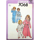Childs Robe Pajamas Simplicity 7068 Sewing Pattern Vintage 1977 Size 4 c2098