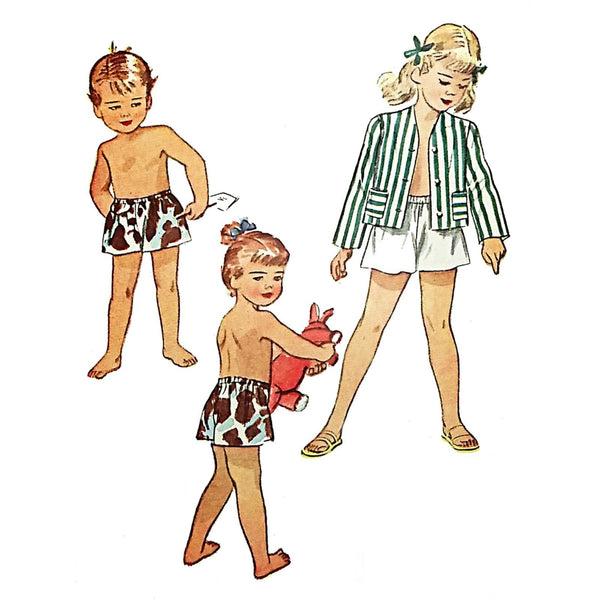 Childs Shorts Blazer Simplicity 2022 Sewing Pattern Vintage 1947 Size 4 c2105