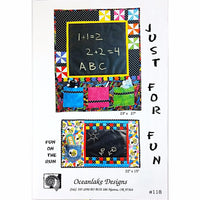 Just For Fun Quilt Pattern Activity Chalkboard Child Oceanlake Designs c1979