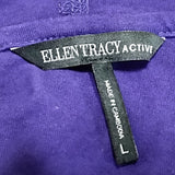 Plum Purple Knit Hoodie Ellen Tracy Active Womens Size L  Long Sleeve Sport f623