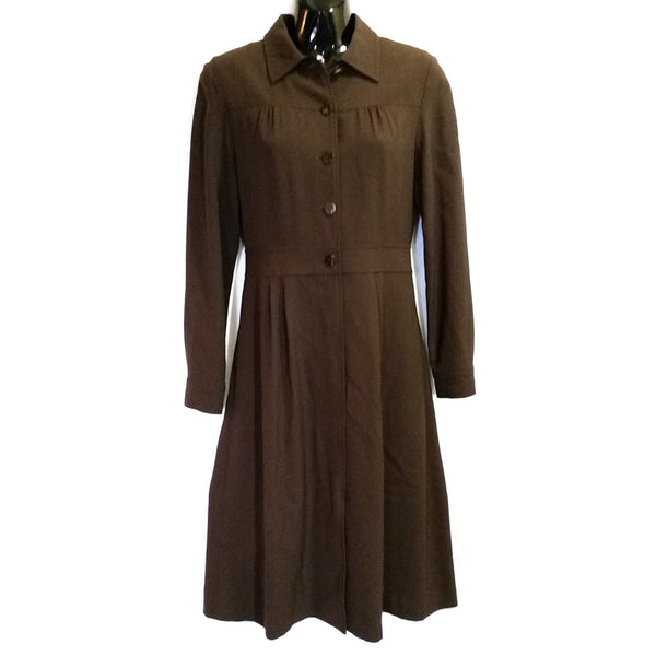 Brown Shirt Dress MINE Womens Size S Long Sleeve Button Up Collared f450