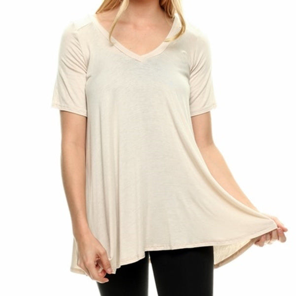 V Neck Drape Top Womens Tee Shirt A Line Short Sleeve Loose T-Shirt