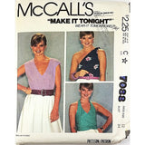 Misses Tops McCalls 7088 Sewing Pattern Vintage 1980 Size 12 c2115