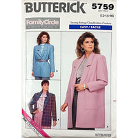 Misses Jacket Butterick 5759 Vintage 1987 Sewing Pattern Size 12 14 16 c1998