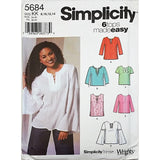 Misses Pullover Tunic Top Simplicity 5684 Sewing Pattern Size 8-14 c2083