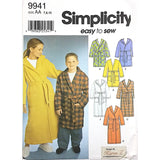 Girls Boys Robe Simplicity 9941 Sewing Pattern 2001 Size 7 8 10 c2010