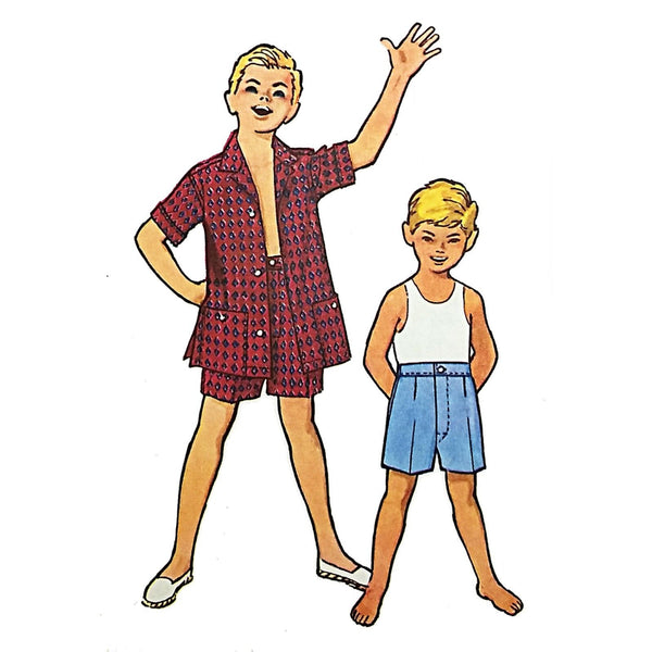 Boys Beach Shirt Shorts McCalls 4867 Sewing Pattern Vintage 1958 Size 12 c2106