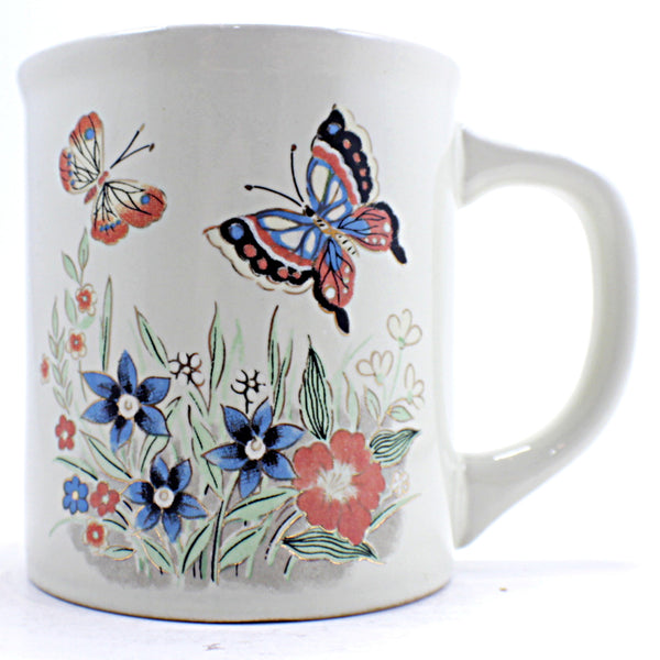 Butterfly Flowers Coffee Mug Vintage Spring Gold Accent 8oz Cup Japan k475