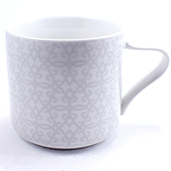 Scroll Coffee Mug 2014 Gray White 12oz Cup Starbucks k486