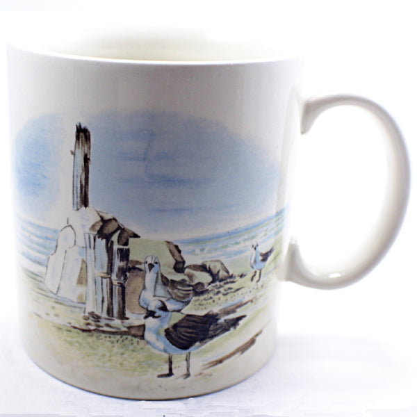 Seagull Beach Coffee Mug Ocean Rocks Vintage 10oz Cup Otagiri Japan k493