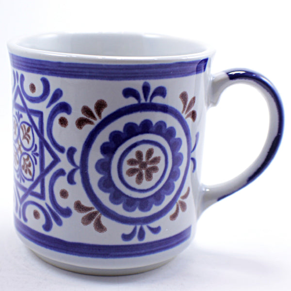 Flower Medallion Coffee Mug Blue Brown Vintage 10oz Cup Japan k494