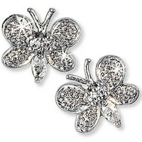 Pave Butterfly Stud Earrings Sterling Silver White Cubic Zirconia Fashion e853s