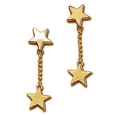 Star Charms Dangle Earrings Drop 24k Yellow Gold Plated Designer Fashion e801g