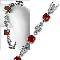 Pave Red Tennis Bracelet Cushion Cubic Zirconia Sterling Silver Fashion b608sg