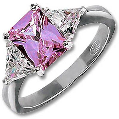Purple Emerald-Cut Ring Sterling Silver Cubic Zirconia Cocktail Fashion r923sa