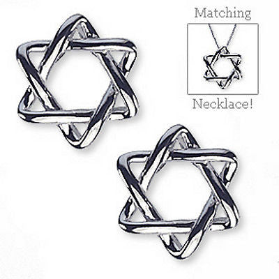 Star of David Earrings .925 Sterling Silver Designer Fashion Judaica e810s