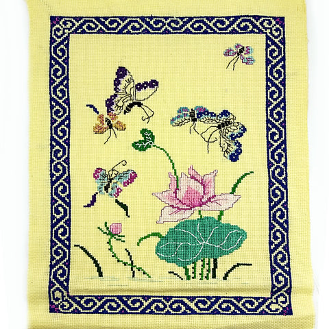 Butterflies Lily Pad Counted Cross Stitch Handworked 11 x 8 inch Yellow m206