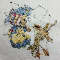 Mouse Sparrow Counted Cross Stitch Handworked 14 x 11 inch Rainy Day m209