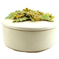 Round Flower Trinket Box Porcelain Yellow Leaves 3-D m224