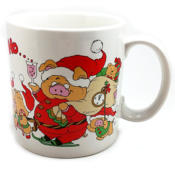Ho Ho Ho Holiday Pig Coffee Mug 10oz Vintage Cup Christmas Santa Applause k511