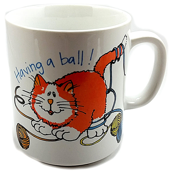 Having a Ball Cat Coffee Mug Vintage 8 oz Cup Mount Clemens Action Japan k537