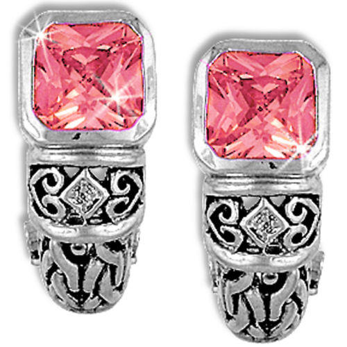 Pink Earrings Cushion Cut Cubic Zirconia Antiqued Silver Plate Fashion e223sp