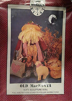 Old Mac Santa 20 in Doll Pattern Soft Sculptured Winter Holiday Works Heart c175