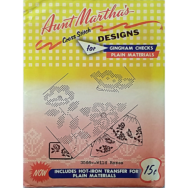 Wild Roses Aunt Marthas 3566 Vintage Hot Iron Transfer Gingham Checks am04
