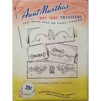 His Hers Flowers Butterfly Aunt Marthas 3742 Hot Iron Transfer Needlework am11