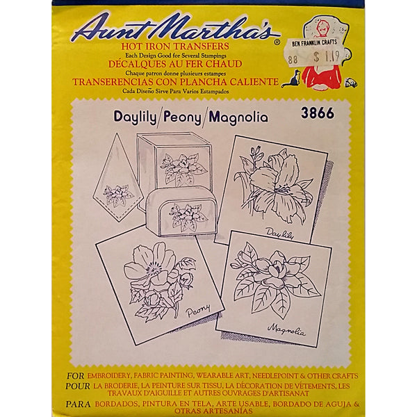 Daylily Peony Magnolia Aunt Marthas 3866 Vintage Flowers Hot Iron Transfer am30