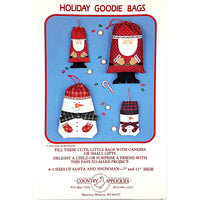 Holiday Goodie Bags Santa Snowman Christmas Gifts Country Appliques c111
