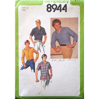 Mens Shirt Simplicity 8944 Sewing Pattern Vintage 1979 Size 44 c1302