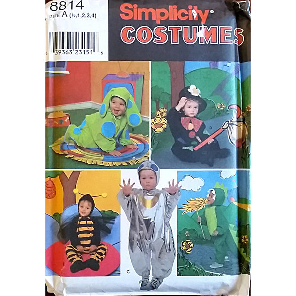 Toddler Dog Hobo Bee Dragon Costume Simplicity 8814 Pattern Size 1/2-4 c1529
