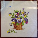 Pansies Crewel Embroidery Kit 14 x 14 Vintage Picture Pillow Family Circle c1540