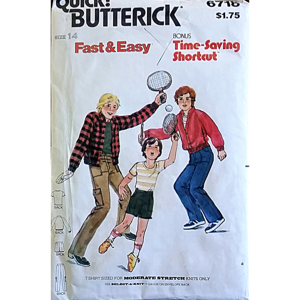 Teen Jacket Shirt Pants Butterick 6718 Sewing Pattern Vintage Size 14 c1544