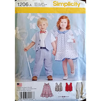 Toddlers Pants Vest Dress Tie Simplicity 1206 Sewing Pattern Size 1/2-4 c1549