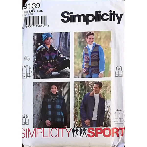 Misses Mens Teens Jacket Vest Hat Simplicity 9139 Pattern 1994 Size L XL c1555