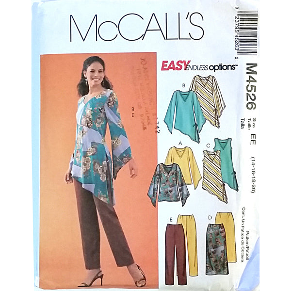 Misses Tops Skirt Pants McCalls M4526 Pattern 2004 Size 14 16 18 20 c1582