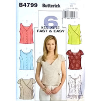 Misses Top Butterick B4799 Sewing Pattern 2006 Size 14 16 18 20 c1594