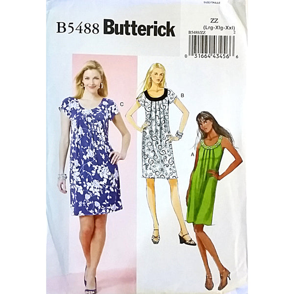 Misses Dress Butterick B5488 Sewing Pattern 2010 Size L XL XXL c1600
