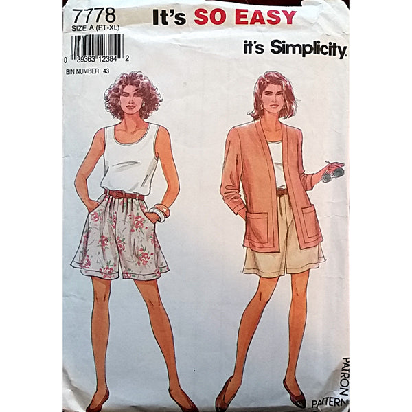 Misses Shorts Top Jacket Simplicity 7778 Sewing Pattern Size Petite XL c1608