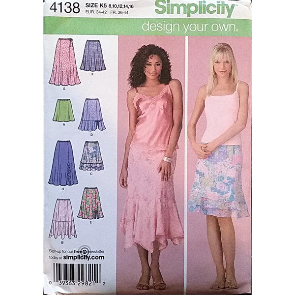 Misses Design Your Own Skirt Simplicity 4138 Sewing Pattern Sz 8 10 12 14 c1611