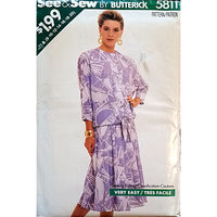 Misses Top Skirt Butterick 5811 Sewing Pattern Vintage 1987 Size 8-20 c1621