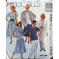 Miss Jacket Top Skirt Pants McCalls 4763 Sewing Pattern Vintage 1987 Sz 16 c1624