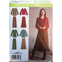 Misses Top Pants Skirt Scarf Simplicity 3568 Sewing Pattern Size 10-14 c1626