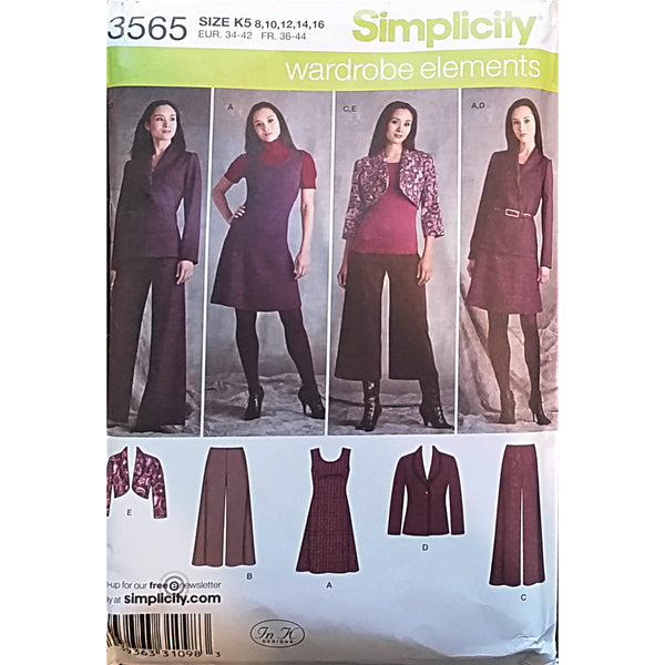 Misses Dress Jumper Pants Jacket Simplicity 3565 Sewing Pattern Size 10-14 c1627