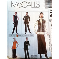 Misses Shirt Vest Top Pants Skirt McCalls 4178 Sewing Pattern Size 8-14 c1628