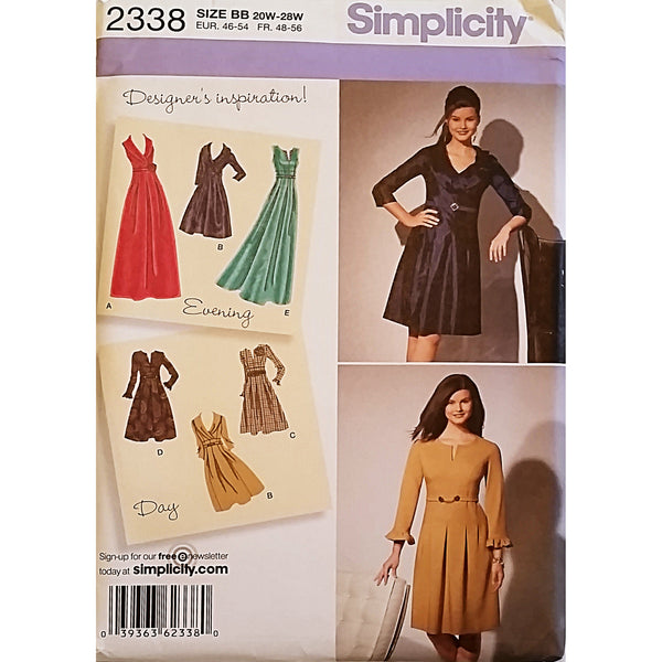 Womens Dress Sleeve Variations Simplicity 2338 Sewing Pattern Size 20W-28W c1635