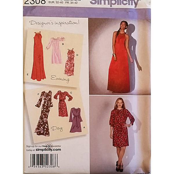 Misses Dress Two Lengths Sash Simplicity 2308 Sewing Pattern Size 6-14 c1636
